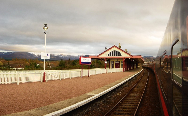 Pulling into Aviemore Station, Scotland.