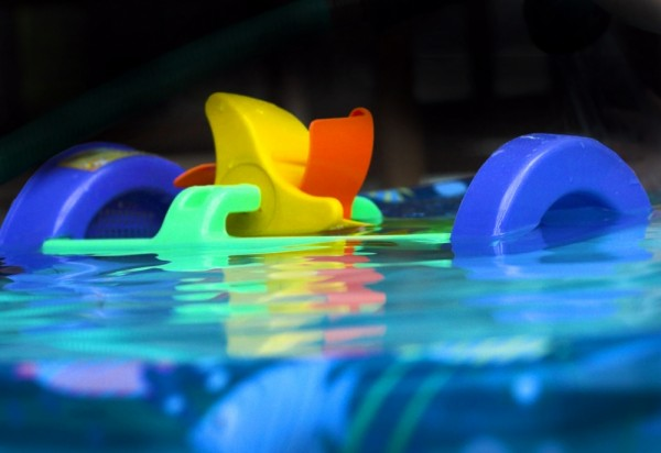 toys floating in the pool