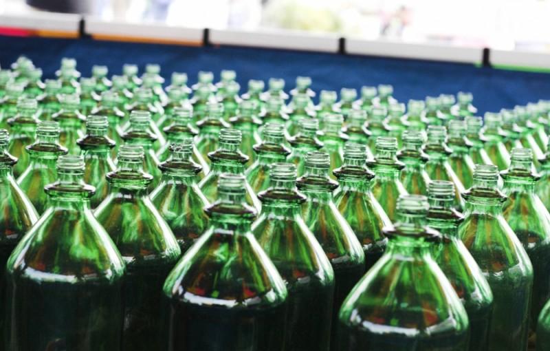 green bottles in rows