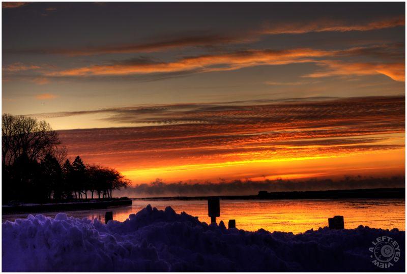 Waukegan sunrise, sun, harbor