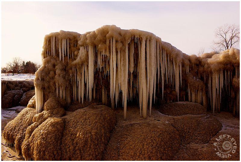 Stalactites, icicles, sand, beach