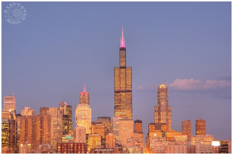 """Chicago skyline"", dusk, ""A Left-Eyed View"""