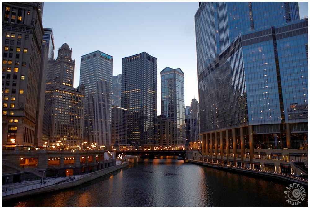 """Chicago River at Dusk, """"A Left-Eyed View"""""""