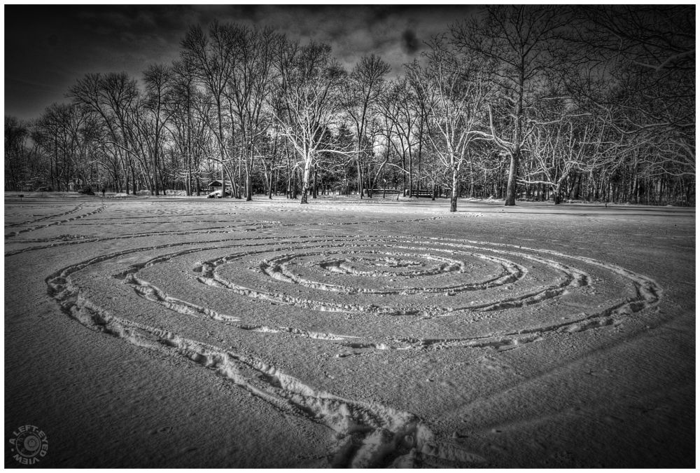 """Crop Circle, """"A Left-Eyed View"""", snow"""