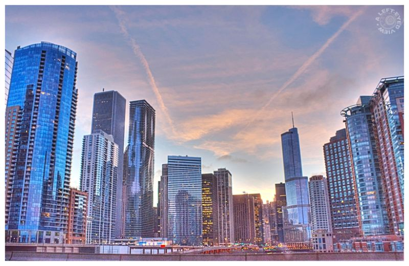 "Chicago, skyline, ""A Left-Eyed View"", dusk"