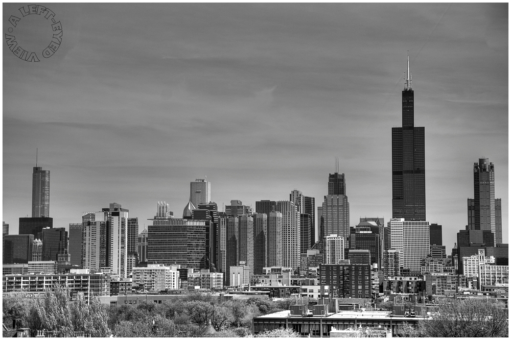 """Chicago Skyline, """"A Left-Eyed View"""", bookends"""