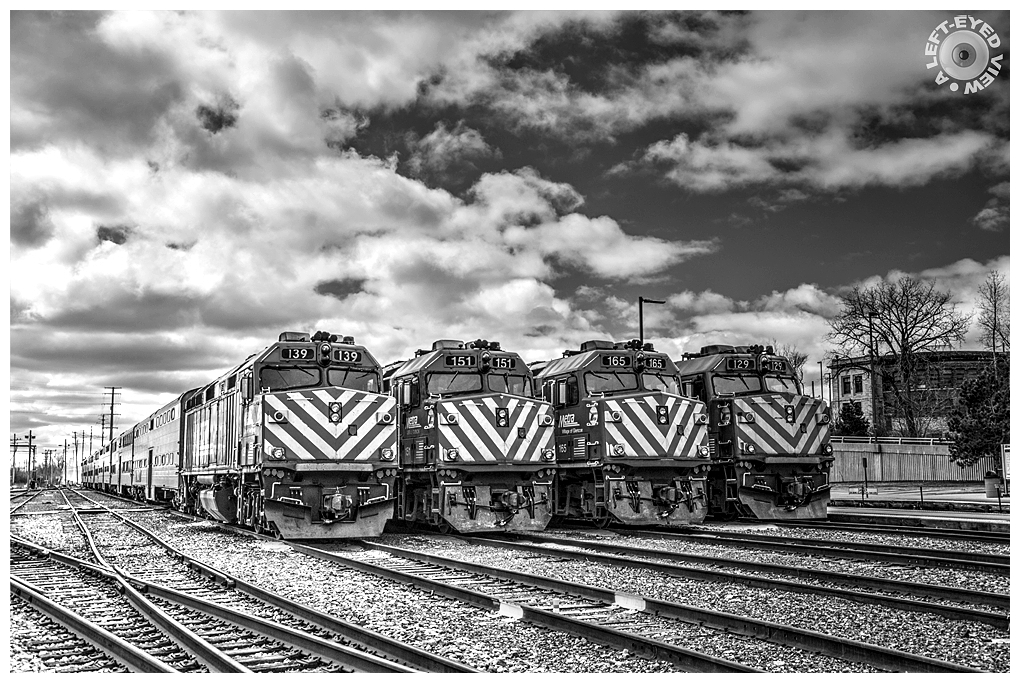 """A Left-Eyed View"", Sabourin, Metra Locomotives"