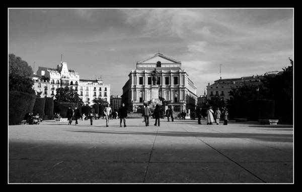 Cityscape of Plaza de Oriente in Madrid.