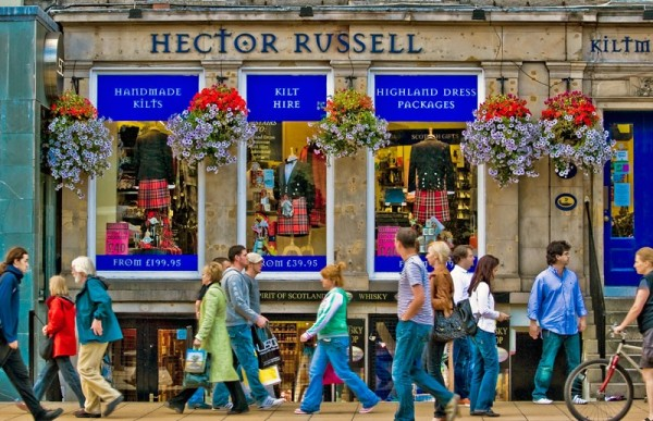 Shops and shoppers on Princes Street in Edinburgh