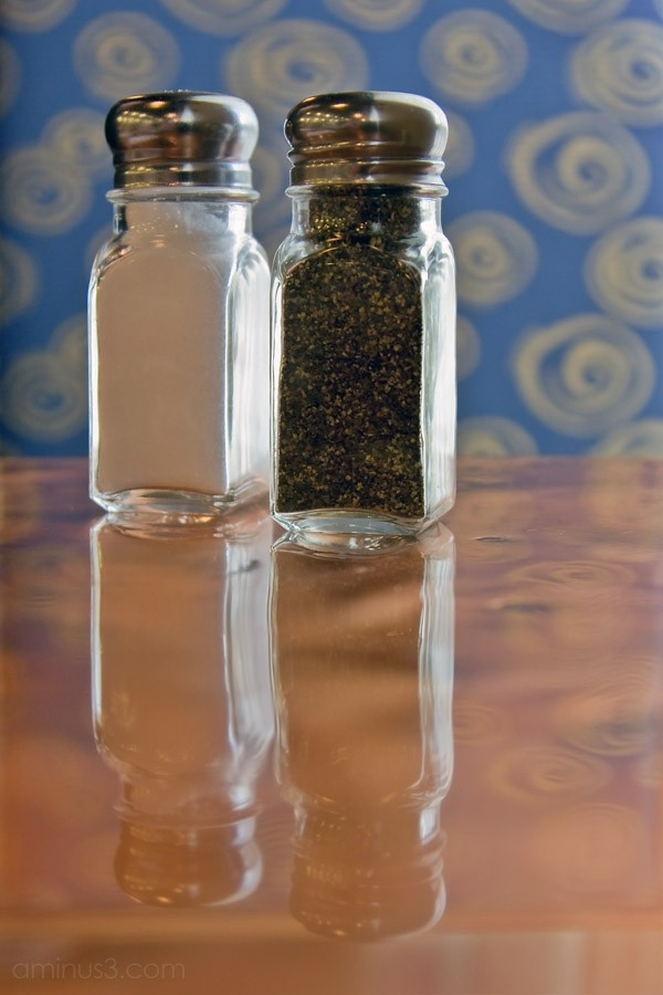 Salt and pepper shakers at Flavor Restaurant