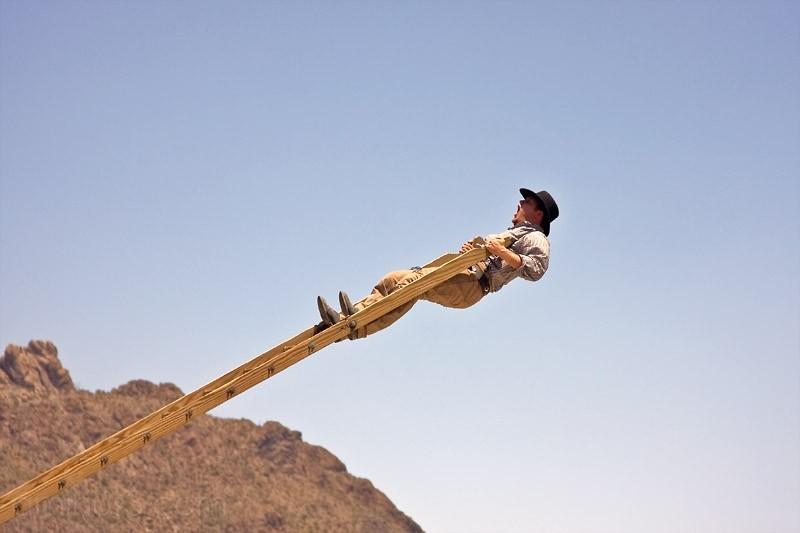 Stunt man at Old Tucson Studios falling