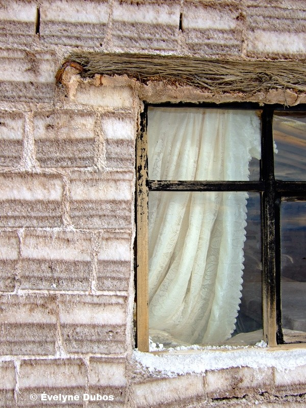 Salt bricks and lace curtain  - Bolivia -