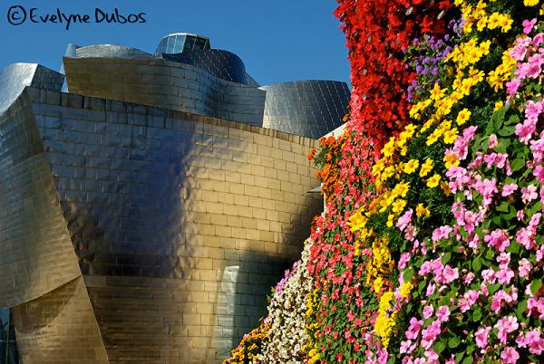 Between flowers and metal  (Guggenheim-Bilbao)