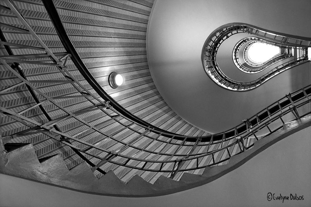 Prague : l'escalier du café Grand Orient.