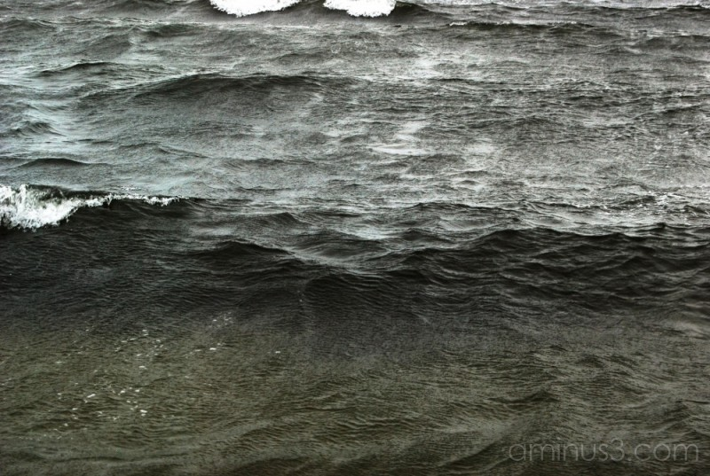 Ocean waves on a windy day.
