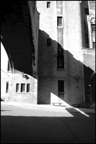 shadows outside a hospital