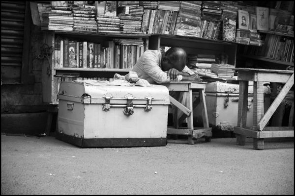 a bookseller caught sleeping