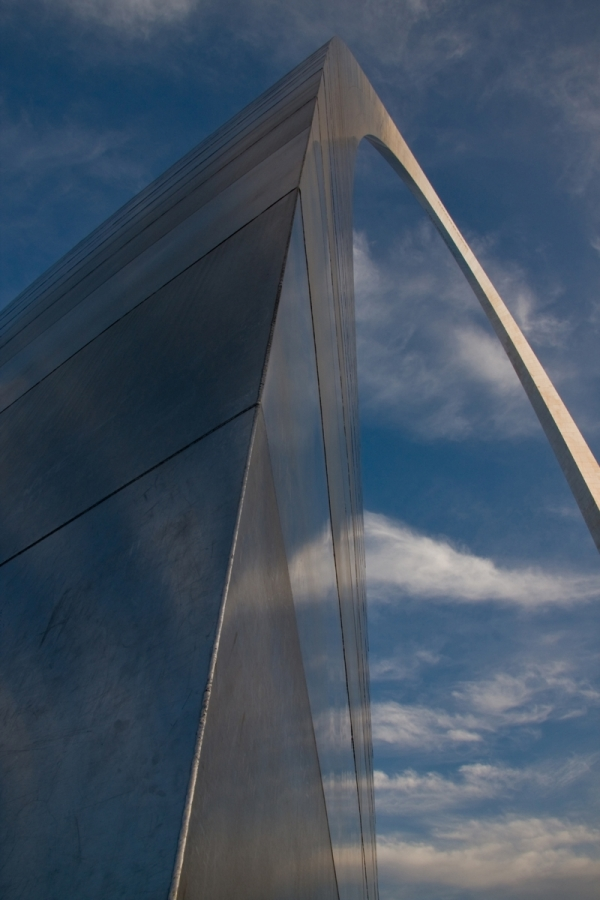 Skyward view from base of the Gateway Arch