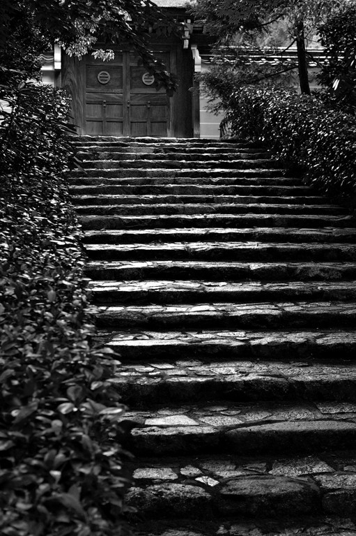 Stone stairs leading to a wooden door