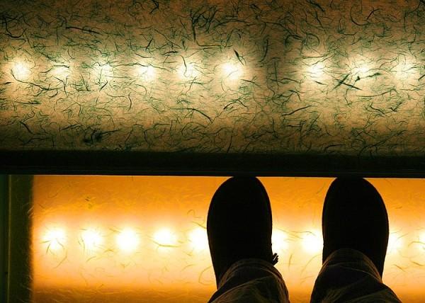 Feet on lighted steps