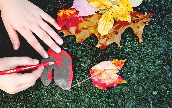 hand coloring autumn leaves