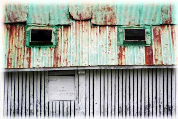 rusted roof on a rural building