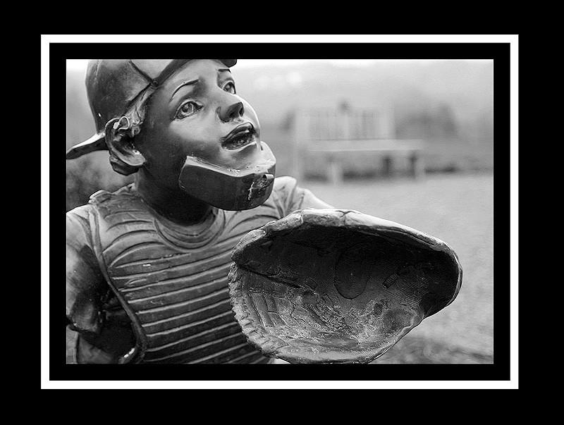 baseball catcher statue