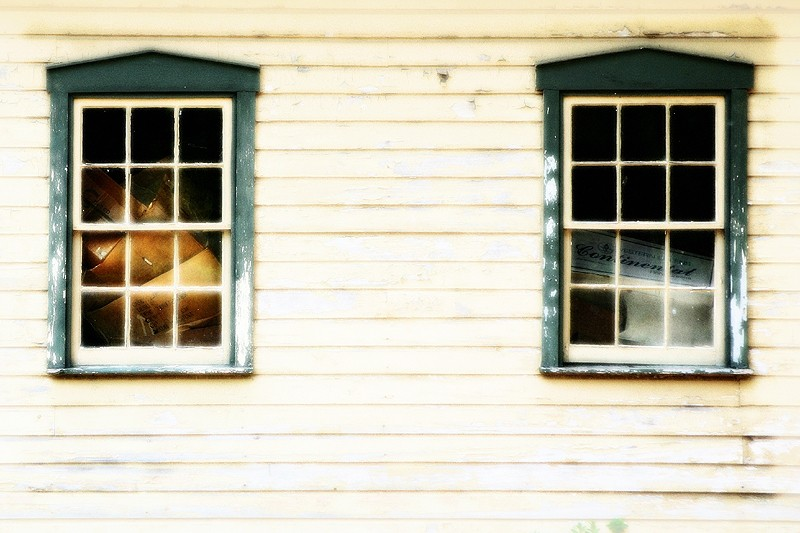 windows of an old barn