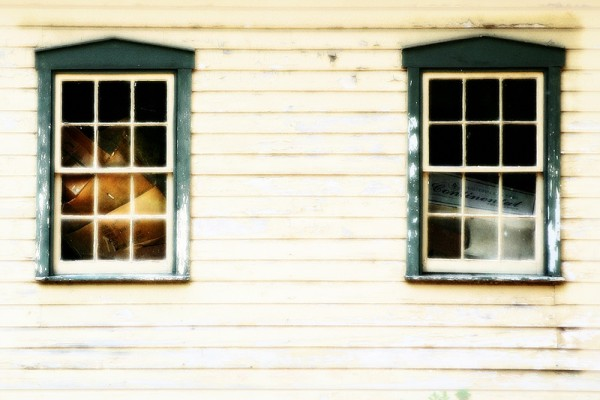 windows of an old barn