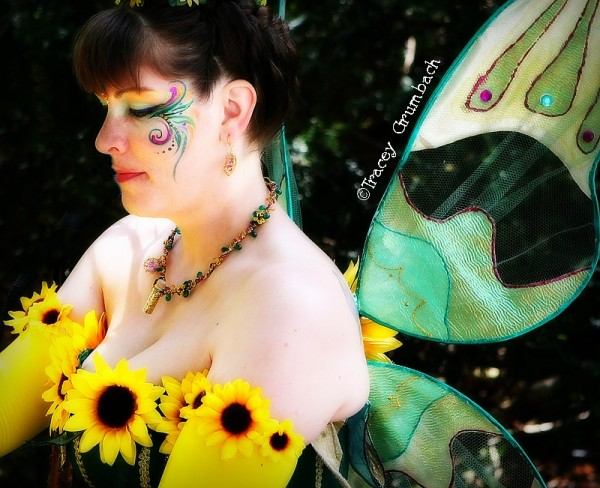 lady dressed as a sunflower fairy