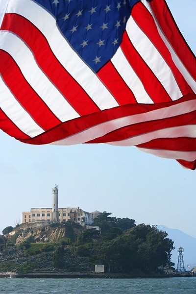 American flag in front of Alcatraz