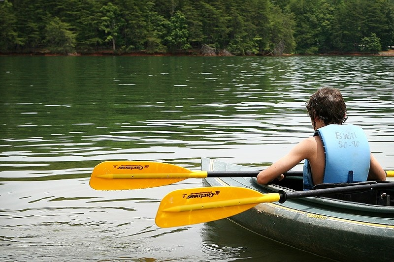 boy with oars in a kayak
