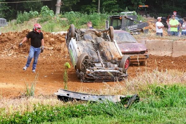 flipped car during a demolition derby