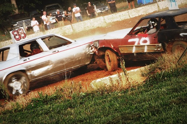 demolition derby cars crashing