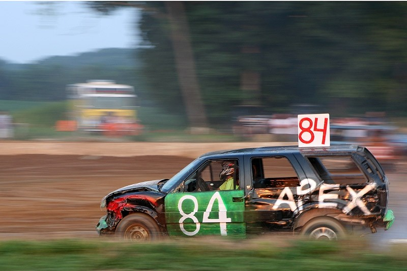 cars racing at a demolition derby