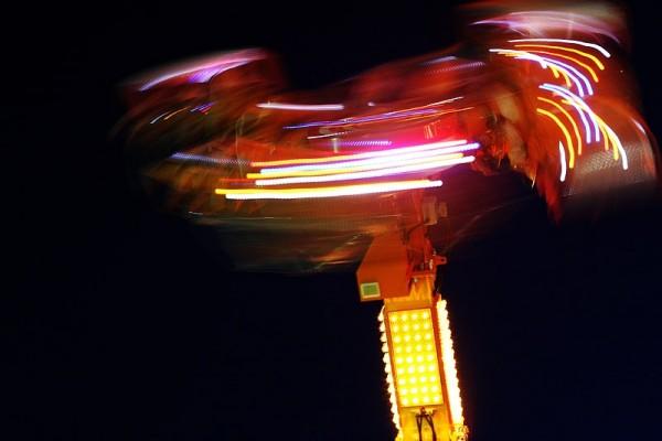 light trails from an amusement rides