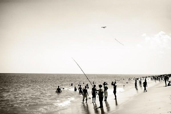 beach scene in sepia