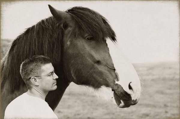 man and Clydesdale horse