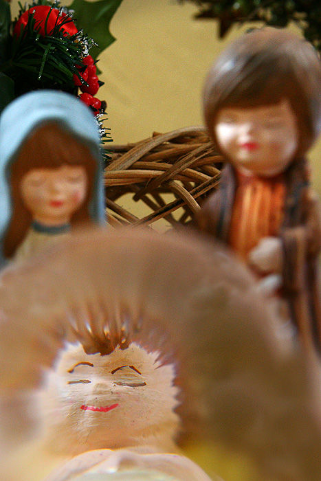 baby Jesus under a magnifying glass
