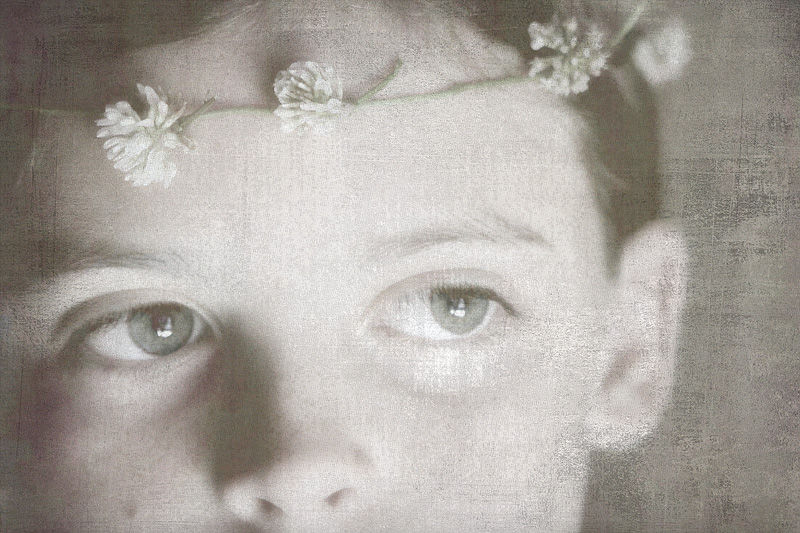 portrait of a girl with a clover halo