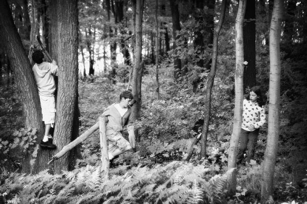 three people in the woods