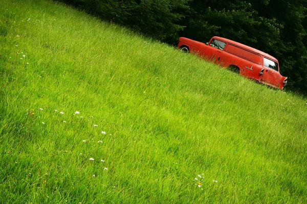 antique car in a field