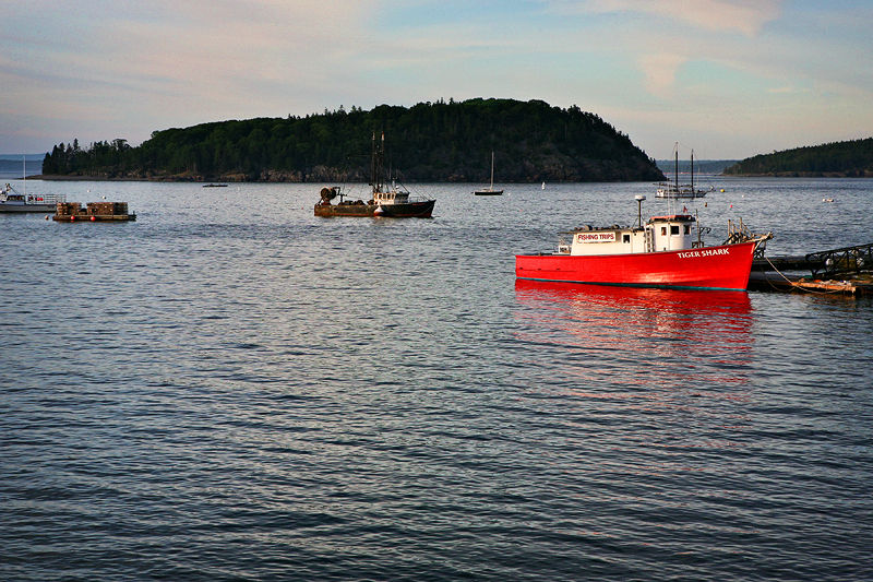 red boat in water at Bar Harbor, Maine