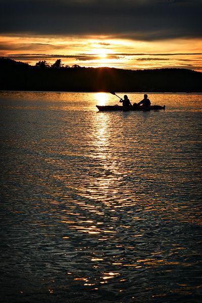 kayak in the ocean at sunset Bar Harbor Maine