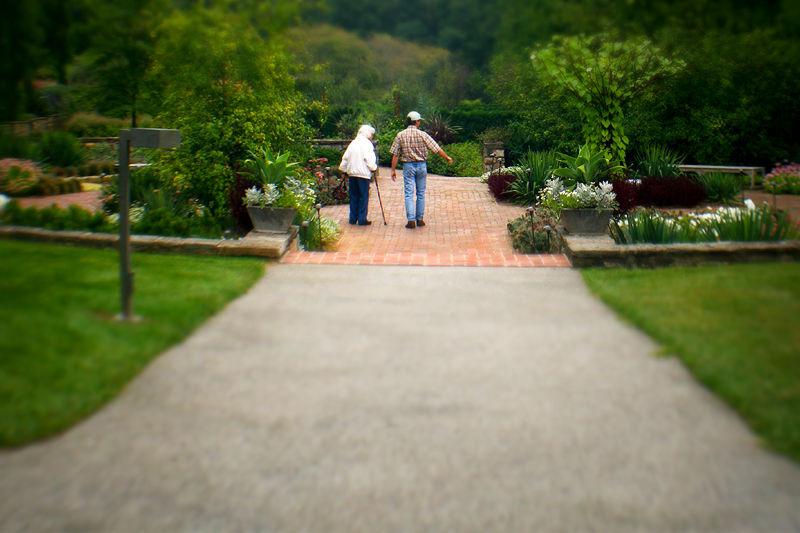 mother and son walking through a garden