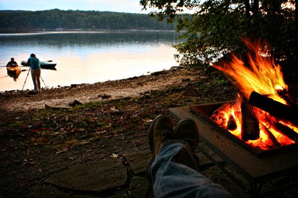a bonfire by Deep Creek Lake