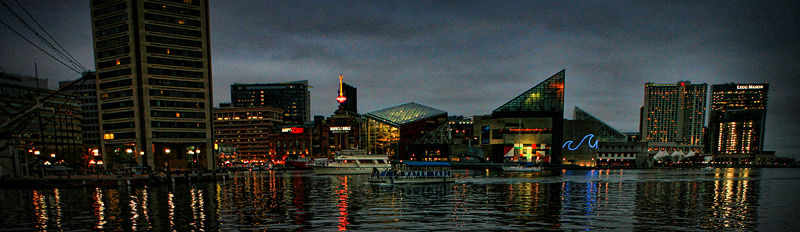 inner harbor, baltimore, md at night