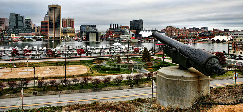 view of inner harbor, baltimore from federal hill