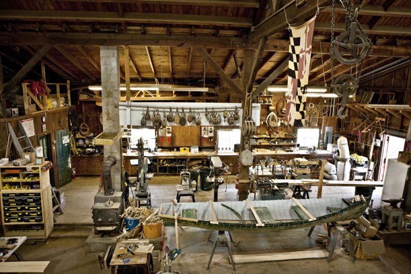 inside of a boat building workshop