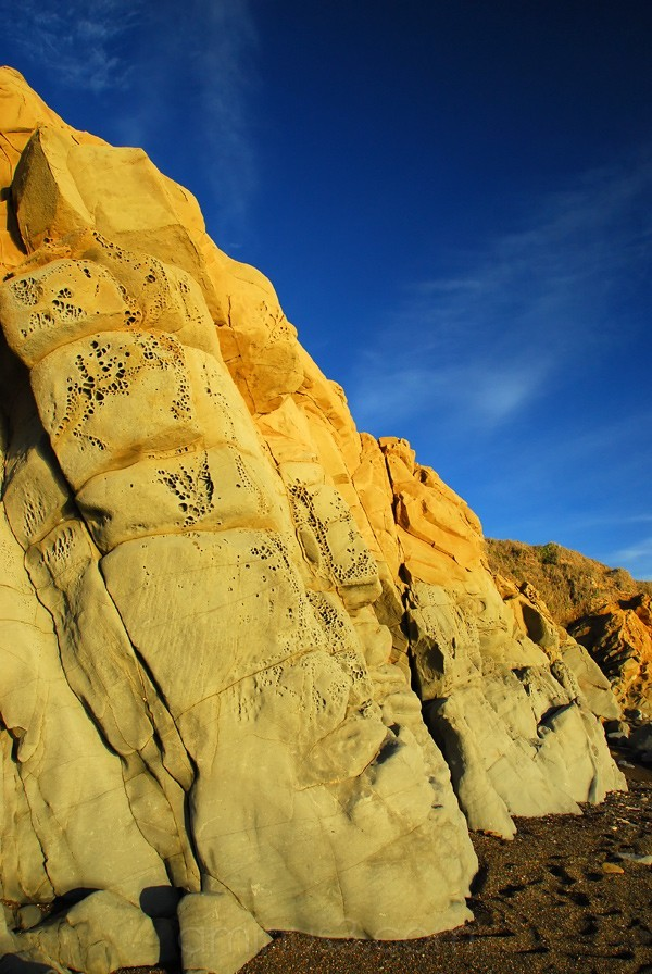 Unusual rock formation on Moonstone beach Cambria,